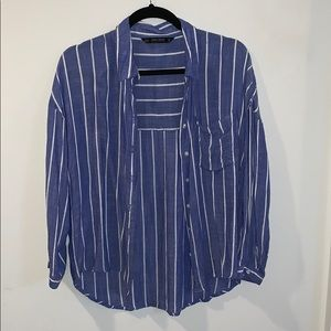 Zara blue and white pine stripe linen shirt